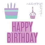 Sizzix - Framelits Die with Clear Acrylic Stamp Set - Happy Birthday 3