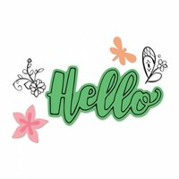Sizzix - Framelits Die with Clear Acrylic Stamp Set - Hello 2