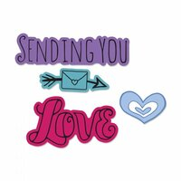 Sizzix - Framelits Die with Clear Acrylic Stamp Set - Sending You Love