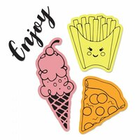 Sizzix - Framelits Die with Clear Acrylic Stamp Set - Yummy Treats