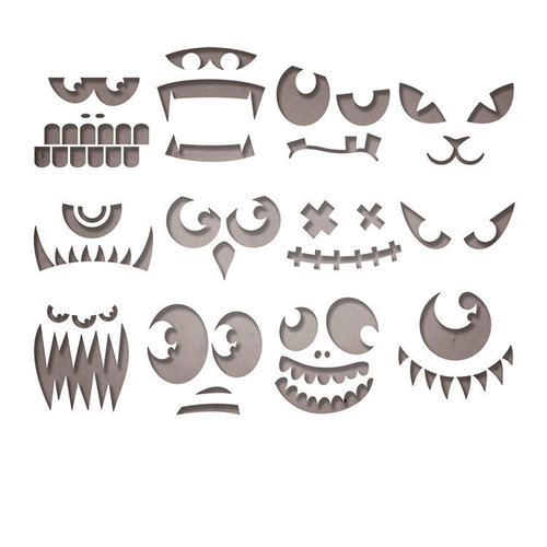 Sizzix - Tim Holtz - Alterations Collection - Halloween - Thinlits Die - Frightening Faces
