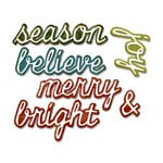 Sizzix - Tim Holtz - Alterations Collection - Christmas - Thinlits Die - Shadow Script Christmas