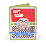 Sizzix - Cards That Wow Collection - Framelits Die with Clear Acrylic Stamp Set - Thanksgiving Pudgies