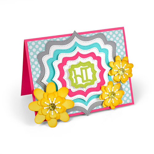 Sizzix - Cards That Wow Collection - Framelits Die - Labels, Fancy Dotted