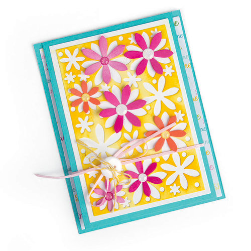 Sizzix - Cards That Wow Collection - Framelits Die - Card, Flowers Drop-ins