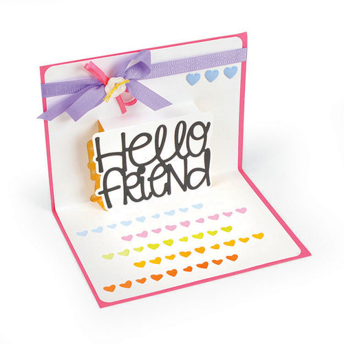 Sizzix - Cards That Wow Collection - Thinlits Die - Hello Friend 3D Drop-ins Sentiment