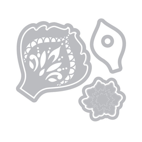 Sizzix - Celebrations Collection - Framelits Die with Clear Acrylic Stamp Set - Mandala Flower