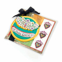 Sizzix - My Happy Life Collection - Framelits Die with Clear Acrylic Stamp Set - Muchas Gracias
