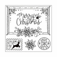 Sizzix - Winter Greetings Collection - Framelits Die with Clear Acrylic Stamp Set - Christmas Envelope