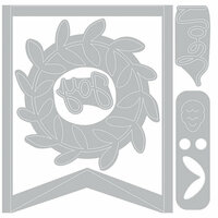 Sizzix - Winter Greetings Collection - Thinlits Die - Holiday Wreath Pennant