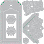 Sizzix - Winter Greetings Collection - Thinlits Die - Tag with Snowflakes