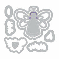 Sizzix - Traditional Christmas and Hanukkah Collection - Framelits Die with Clear Acrylic Stamp Set - Angel, Glory in the Highest