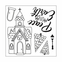 Sizzix - Traditional Christmas and Hanukkah Collection - Framelits Die with Clear Acrylic Stamp Set - Church, Peace on Earth