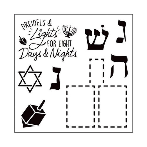 Sizzix - Traditional Christmas and Hanukkah Collection - Framelits Die with Clear Acrylic Stamp Set - Dreidel Pop-Up Card