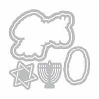 Sizzix - Traditional Christmas and Hanukkah Collection - Framelits Die with Clear Acrylic Stamp Set - Happy Challah Days