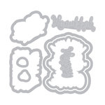 Sizzix - Traditional Christmas and Hanukkah Collection - Framelits Die with Clear Acrylic Stamp Set - Love You a Latke