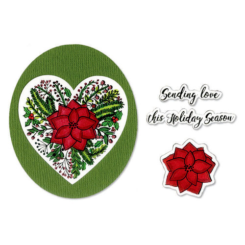 Sizzix - Holiday Blessings Collection - Framelits Die with Clear Acrylic Stamp Set - Poinsettia Wreath