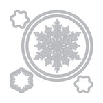 Sizzix - Holiday Blessings Collection - Framelits Die with Clear Acrylic Stamp Set - Snowflake Wreath