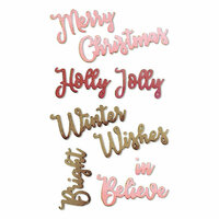 Sizzix - Holiday Blessings Collection - Thinlits Die - Christmas Phrases
