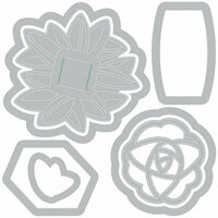 Sizzix - Gift and Gather Collection - Framelits Die with Clear Acrylic Stamp Set - Cupcake and Straw Toppers