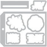 Sizzix - Gift and Gather Collection - Framelits Die with Clear Acrylic Stamp Set - Tag Pocket with Phrases