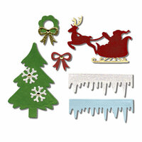 Sizzix - Made with Love Collection - Thinlits Die - Christmas Embellishments