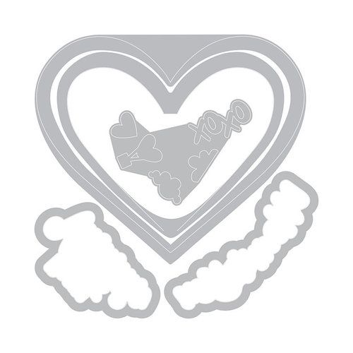 Sizzix - Sending Love Collection - Framelits Die with Clear Acrylic Stamp Set - I Heart You