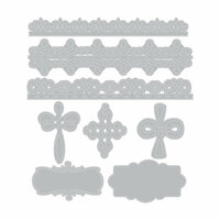 Sizzix - Celebrating Life Collection - Thinlits Die - Crosses and Borders