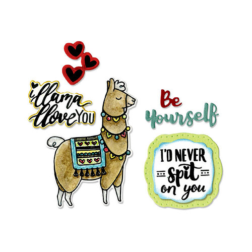 Sizzix - Framelits Die with Clear Acrylic Stamp Set - Llama Love