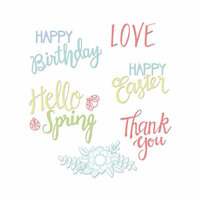 Sizzix - Clear Acrylic Stamps - Spring Phrases