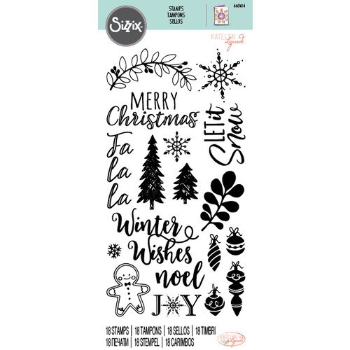 Sizzix - Christmas - Clear Acrylic Stamps - Winter Phrases