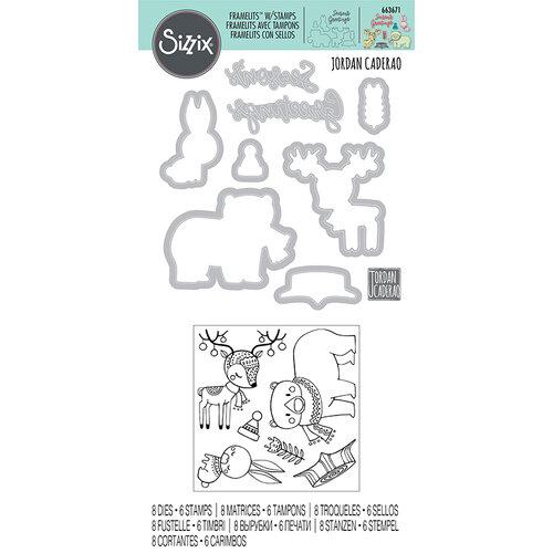 Sizzix - Framelits Die with Clear Acrylic Stamp - Folk Christmas