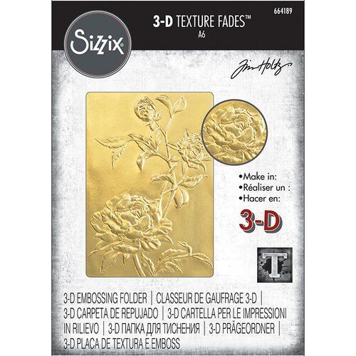 Sizzix - Tim Holtz - 3D Texture Fades Embossing Folder - Roses