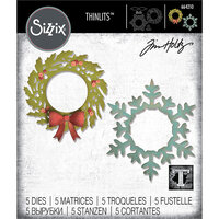 Sizzix - Christmas - Thinlits Die - Wreath & Snowflake