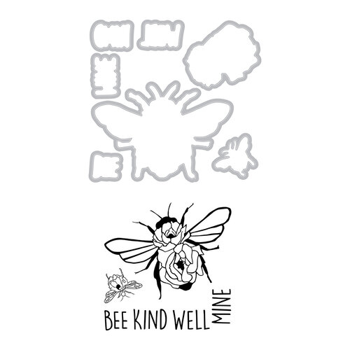 Sizzix - Framelits Dies with Clear Acrylic Stamp Set - Bee Well