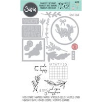 Sizzix - Framelits Die with Clear Acrylic Stamp Set - Time Out