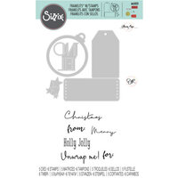 Sizzix - Framelits Dies with Clear Acrylic Stamp Set - Holly Jolly Christmas