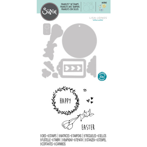 Sizzix - Framelits Dies with Clear Acrylic Stamp Set - Easter Fun