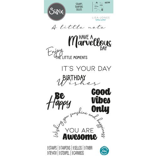 Sizzix - Clear Acrylic Stamps - Everyday Sentiments No. 2