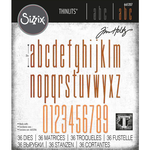 Sizzix - Tim Holtz - Thinlits Dies - Alphanumeric Stretch Lower and Numbers