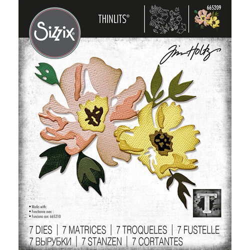 Sizzix - Tim Holtz - Thinlits Dies - Brushstroke Flowers 1