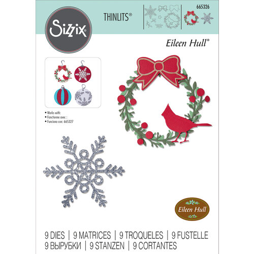 Sizzix - Thinlits Dies - Wreath and Snowflake