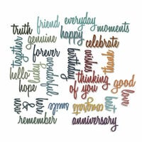 Sizzix - Tim Holtz - Alterations Collection - Thinlits Die - Celebrate and Friendship Script Bundle