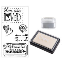 Sizzix - Making Essentials Collection - Silver Opaque Embossing Powder, Clear Embossing Ink Pad and Clear Acrylic Stamps - You are Loved Bundle