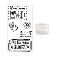 Sizzix - Making Essentials Collection - Clear Opaque Embossing Powder and Clear Acrylic Stamps - You Are Loved Bundle