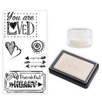 Sizzix - Making Essentials Collection - Clear Opaque Embossing Powder, Clear Embossing Ink Pad and Clear Acrylic Stamps - You Are Loved Bundle