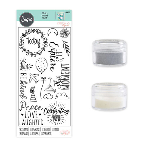 Sizzix - Making Essentials Collection - Silver Opaque Embossing Powder, Clear Opaque Embossing Powder and Clear Acrylic Stamps - Everyday Sentiments Bundle