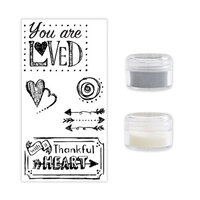 Sizzix - Making Essentials Collection - Silver Opaque Embossing Powder, Clear Opaque Embossing Powder and Clear Acrylic Stamps - You Are Loved Bundle