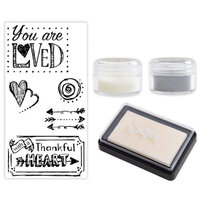 Sizzix - Making Essentials Collection - Silver and Clear Opaque Embossing Powder, Clear Embossing Ink Pad and Clear Acrylic Stamps - You Are Loved Bundle