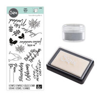 Sizzix - Making Essentials Collection - Silver Opaque Embossing Powder, Clear Embossing Ink Pad and Clear Acrylic Stamps - Frases Festivas Bundle